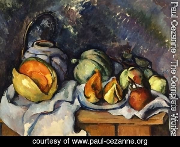 Paul Cezanne - Still Life with Fruit and a Pot of Ginger