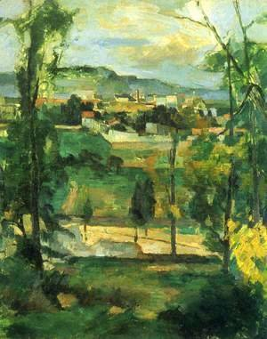 Paul Cezanne - Village behind Trees, Ile de France