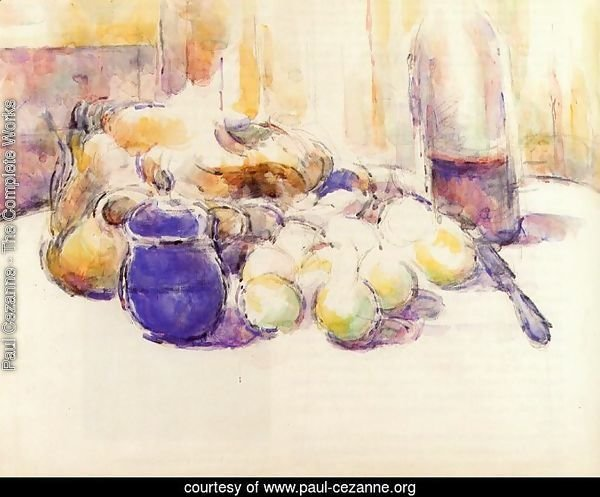 Blue Pot and Bottle of Wine (also known as Still Life with Pears and Apples, Covered Blue Jar, and a Bottle of Wi