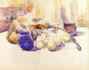 Paul Cezanne - Blue Pot and Bottle of Wine (also known as Still Life with Pears and Apples, Covered Blue Jar, and a Bottle of Wi