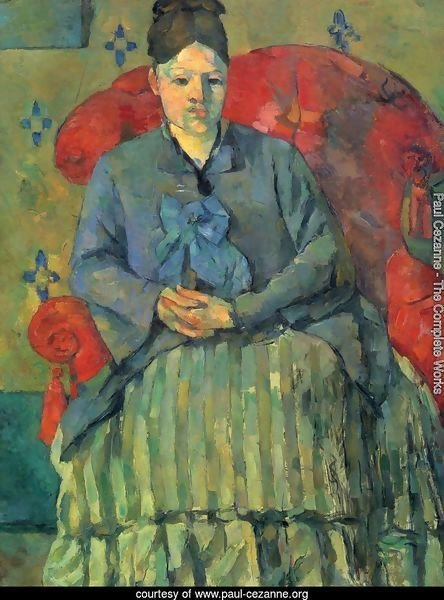 Portrait of Mme Cézanne in red sofa