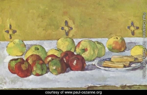 Still life with apples and biskuits