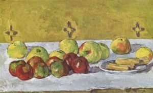 Paul Cezanne - Still life with apples and biskuits
