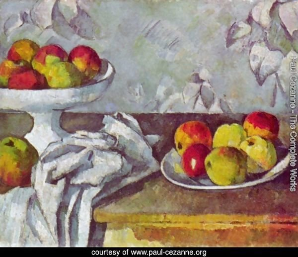 Still life with apples and fruit bowl