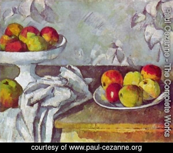 Paul Cezanne - Still life with apples and fruit bowl