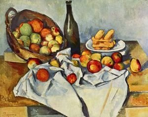 Paul Cezanne - Still life with bottle and apple basket
