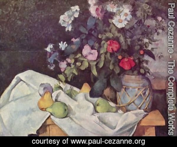 Paul Cezanne - Still life with flowers and fruits