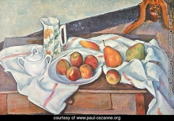 Still life with peaches and pears