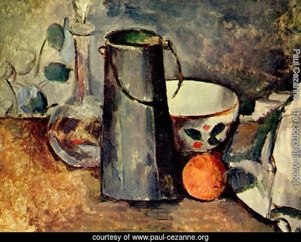 Still life, a jar with an orange