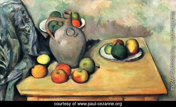 Still life, jug and fruits on a table