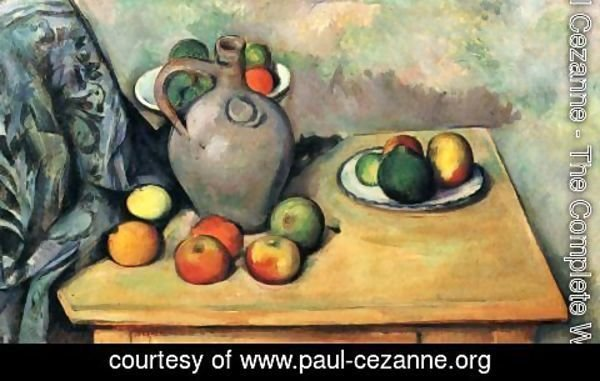 Paul Cezanne - Still life, jug and fruits on a table