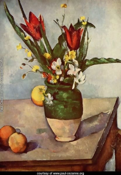 Still life, tulips and apples