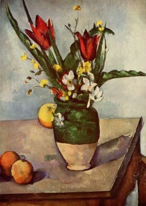 Paul Cezanne - Still life, tulips and apples