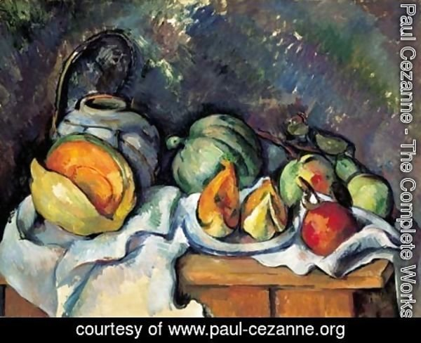 Paul Cezanne - Nature morte aux fruits et pot de gingembre
