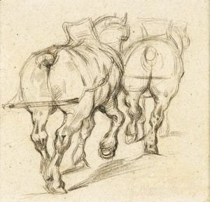 Paul Cezanne - Chevaux De Trait (D'Apres Gericault)