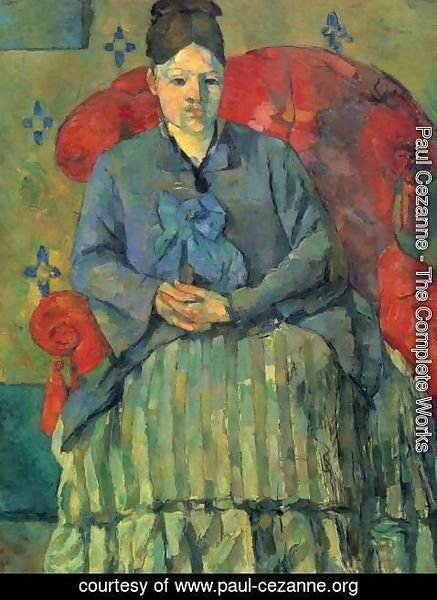 Paul Cezanne - Portrait of Madame Cezanne in red chair