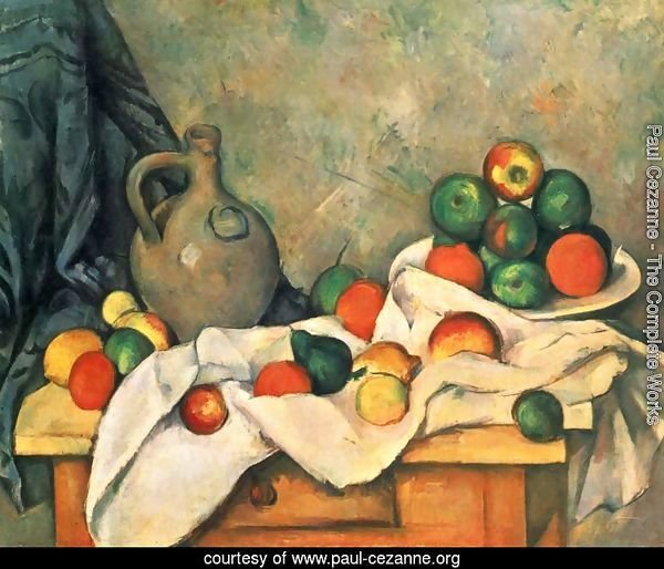 Still life, drapery, jug and fruits