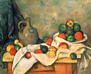 Paul Cezanne - Still life, drapery, jug and fruits