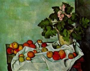 Paul Cezanne - Still life with fruits geraniums Stock