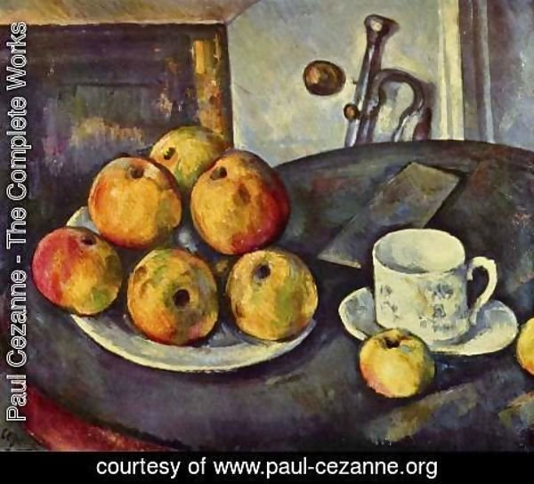 Paul Cezanne - Still life with bottle and apple basket 2