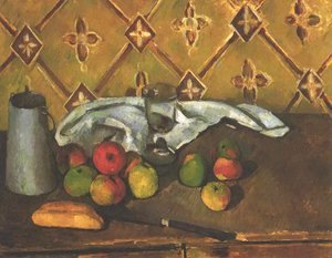Still life with apples, servettes and a milkcan
