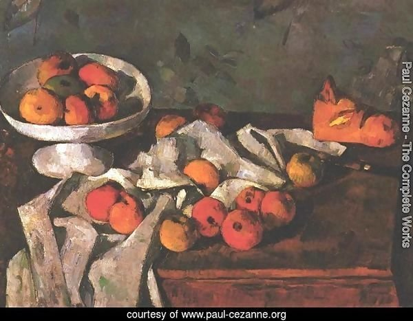Still life with a fruit dish and apples