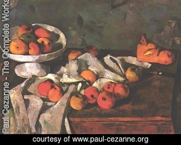 Paul Cezanne - Still life with a fruit dish and apples