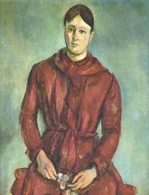 Paul Cezanne - Portrait of Madame Cezanne in a Red Dress