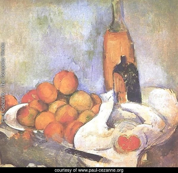 Still life with bottles and apples