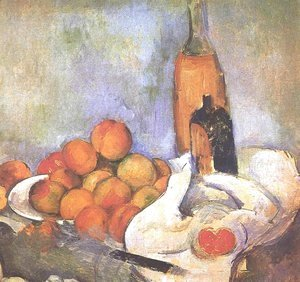 Paul Cezanne - Still life with bottles and apples