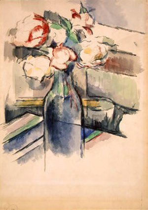 Paul Cezanne - Roses in a Bottle