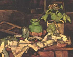Paul Cezanne - Flower pot at a table