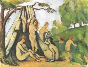 Paul Cezanne - Bathers in front of a tend
