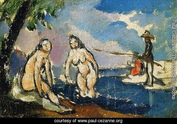 Bathers And Fisherman With A Line