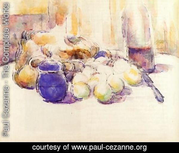 Paul Cezanne - Blue Pot And Bottle Of Wine Aka Still Life With Pears And Apples  Covered Blue Jar  And A Bottle Of Wine