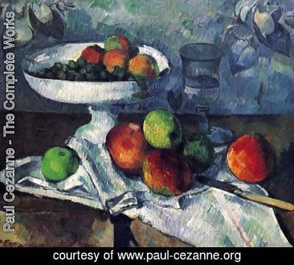 Paul Cezanne - Compotier  Glass And Apples Aka Still Life With Compotier