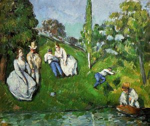 Paul Cezanne - Couples Relaxing By A Pond