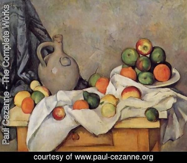 Paul Cezanne - Curtain  Jug And Fruit