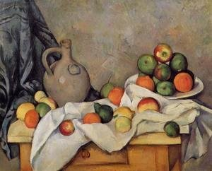 Curtain  Jug And Fruit