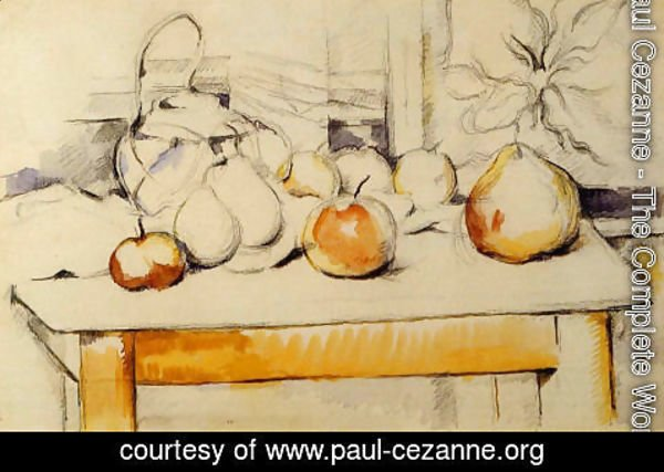 Paul Cezanne - Ginger Jar And Fruit On A Table