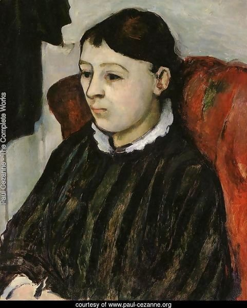 Madame Cezanne In A Striped Robe