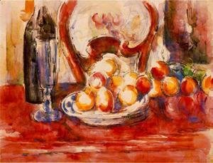 Paul Cezanne - Still Life   Apples  A Bottle And Chairback