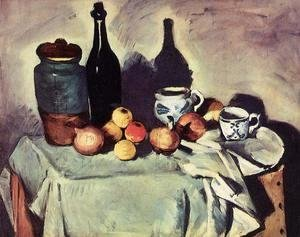 Paul Cezanne - Still Life   Post  Bottle  Cup And Fruit