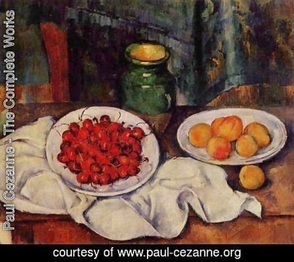 Paul Cezanne - Still Life With A Plate Of Cherries Aka Cherries And Peaches