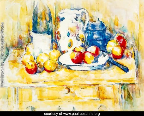 Still Life With Apples  A Bottle And A Milk Pot