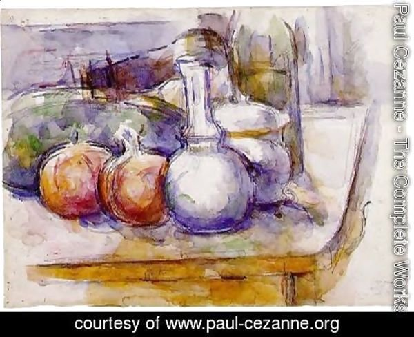 Paul Cezanne - Still Life With Carafe  Sugar Bowl  Bottle  Pommegranates And Watermelon
