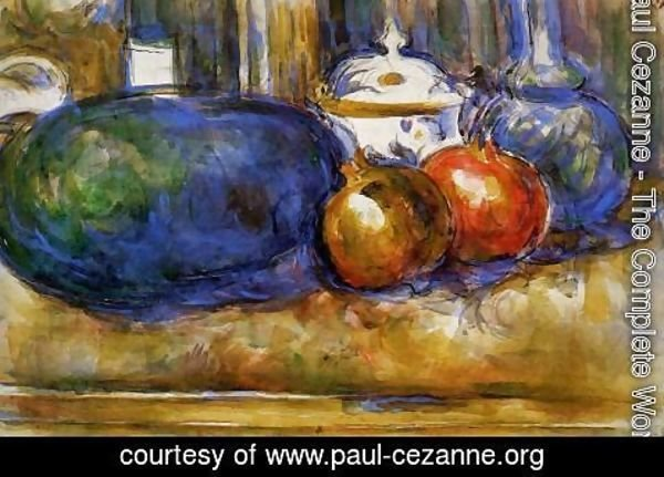 Paul Cezanne - Still Life With Watermelon And Pemegranates
