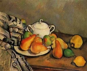 Paul Cezanne - Sugarbowl  Pears And Tablecloth