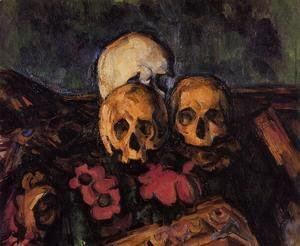 Paul Cezanne - Three Skulls On A Patterned Carpet