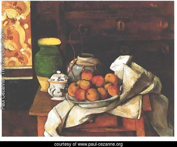 Vessels  Fruit And Cloth In Front Of A Chest